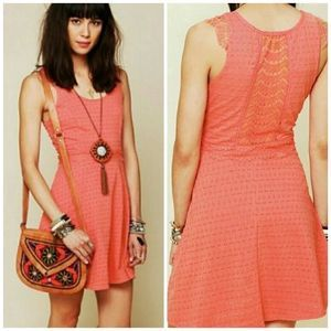 Free people lace back fit and flare coral dress S